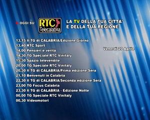 Oggi su RTC Telecalabria – programmazione del 20 aprile 2018