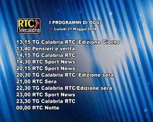 Oggi su RTC Telecalabria – programmazione del 21 maggio 2018