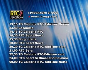 Oggi su RTC Telecalabria – programmazione del 22 maggio 2018