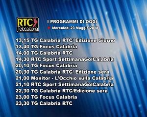 Oggi su RTC Telecalabria – programmazione del 23 maggio 2018