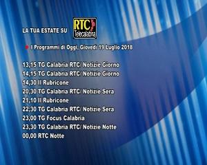 Oggi su RTC Telecalabria – Programmazione del 19 luglio 2018