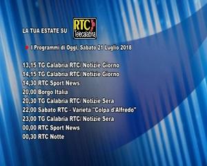 Oggi su RTC Telecalabria – Programmazione del 21 luglio 2018