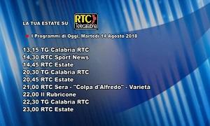 Oggi su RTC Telecalabria – Programmazione del 14 agosto 2018