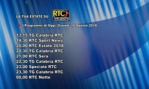 Oggi su RTC Telecalabria – Programmazione del 16 agosto 2018
