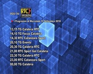 Oggi su RTC Telecalabria – Programmazione del 19 settembre 2018