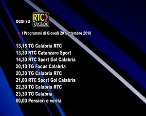 Oggi su RTC Telecalabria – Programmazione del 20 settembre 2018