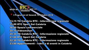 Oggi su RTC Telecalabria – Programmazione del 19 ottobre 2018