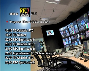 Oggi su RTC Telecalabria – Programmazione del 10 dicembre 2018