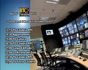 Oggi su RTC Telecalabria – Programmazione dell'11 dicembre 2018