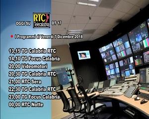 Oggi su RTC Telecalabria – Programmazione del 7 dicembre 2018