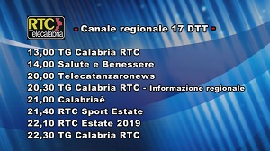 Oggi su RTC Telecalabria – Programmazione del 10 luglio 2019