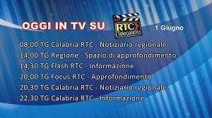 IN TV SU RTC – Lunedì 1 Giugno