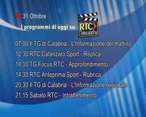 IN TV SU RTC – Sabato 31 Ottobre