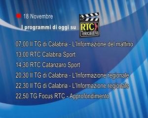 IN TV SU RTC – Mercoledì 18 Novembre