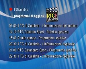 IN TV SU RTC – Martedì 1 Dicembre