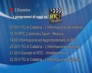 IN TV SU RTC – Giovedì 3 Dicembre