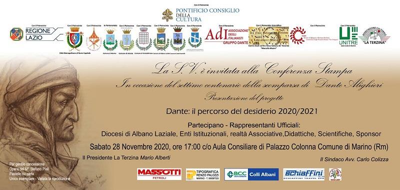 """""""Dante: il percorso del desiderio 2020/2021"""": sabato 28 novembre conferenza stampa online"""