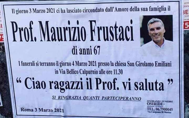 Morena, è morto il professor Maurizio Frustaci. Domani i funerali