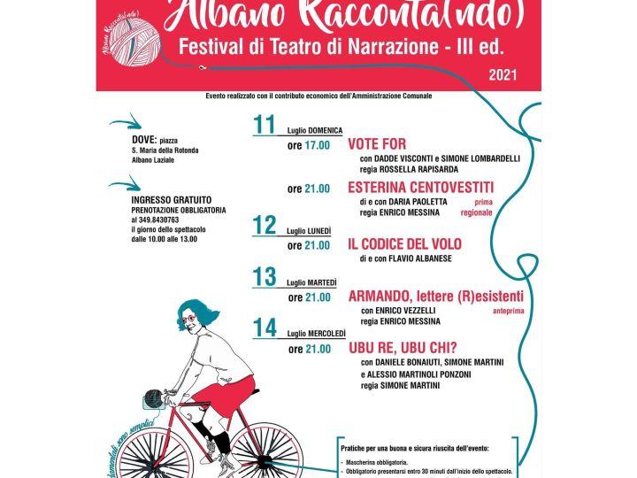 Albano Racconta(ndo) III edizione, festival di teatro di narrazione