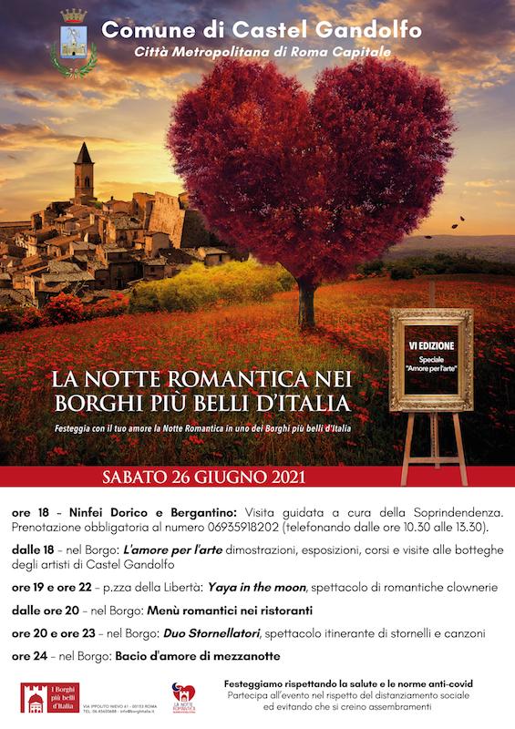 Castel Gandolfo, il 26 giugno torna la Notte Romantica