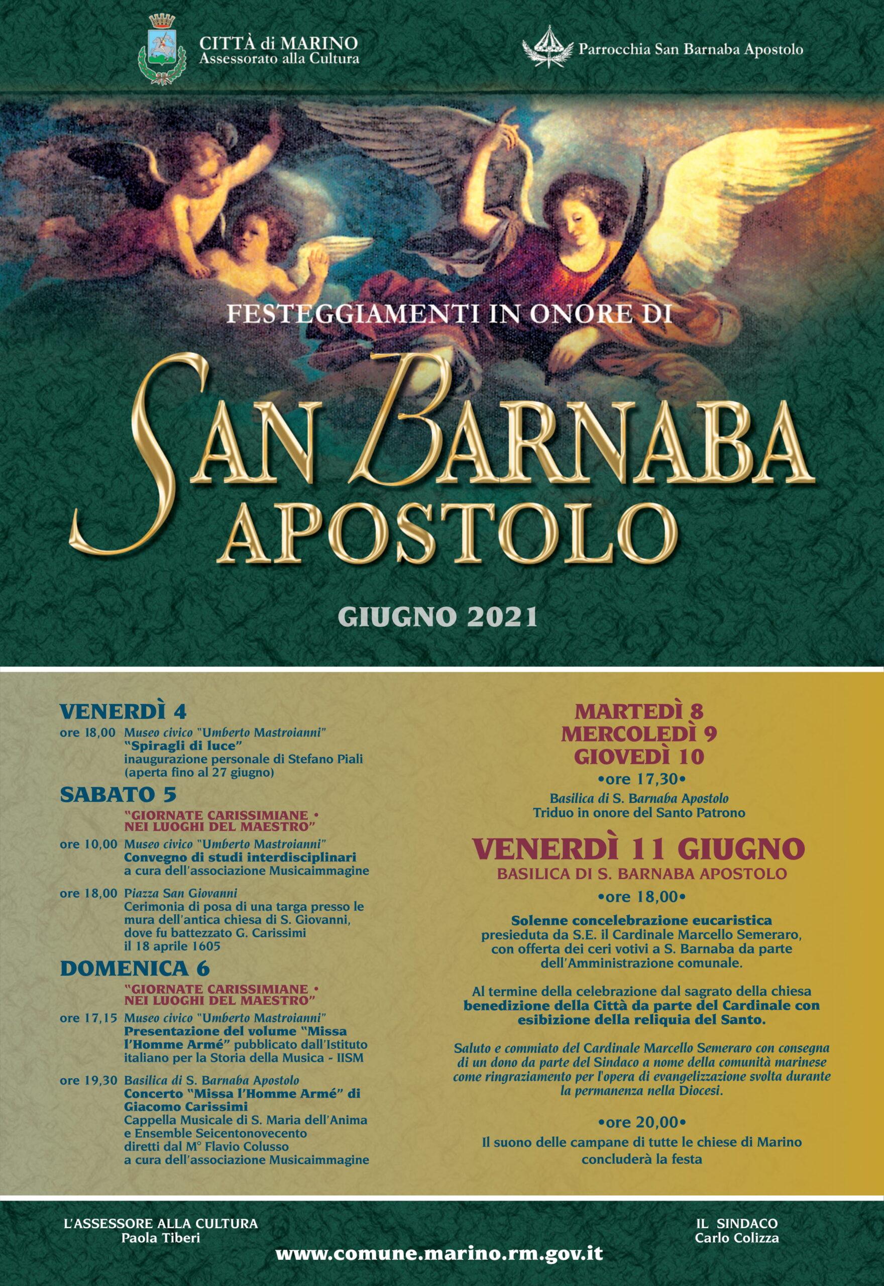 Marino, celebrazioni di San Barnaba Apostolo in forma essenziale