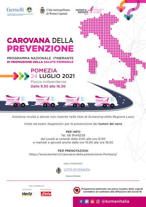 Pomezia, arriva il 24 luglio la carovana della prevenzione Komen Italia