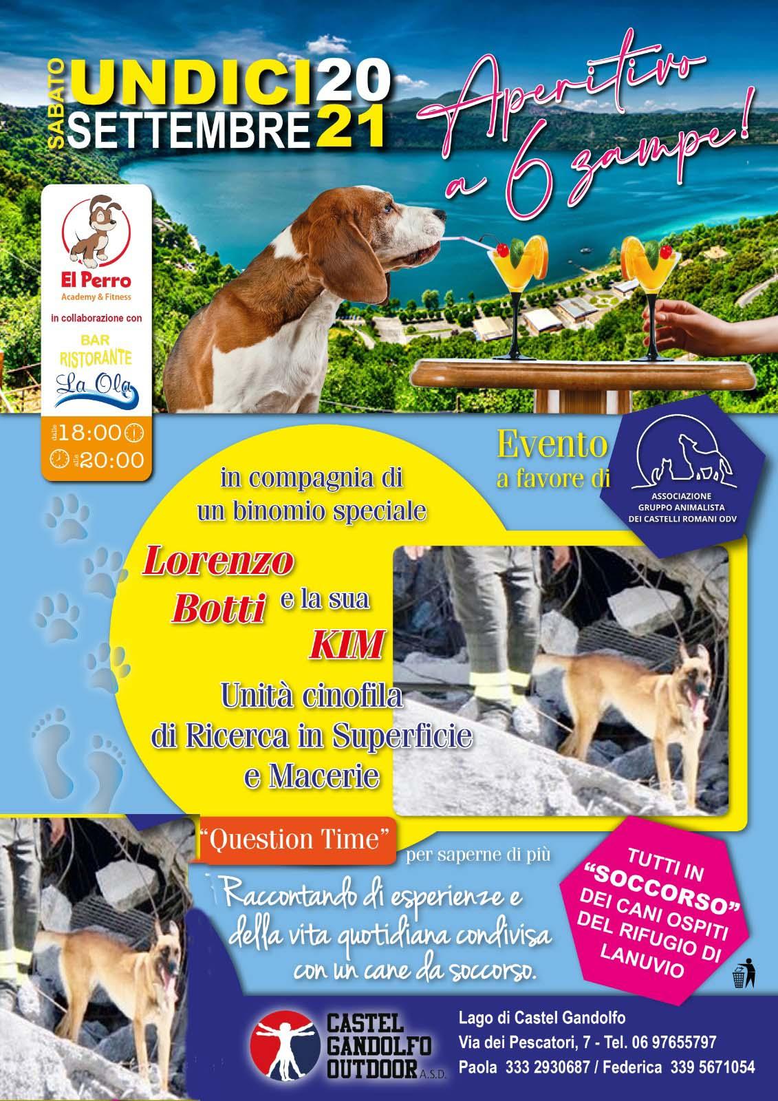 Castel Gandolfo, evento benefico a favore del canile di Lanuvio sulla spiaggia del lago. Ospita circa 300 cani
