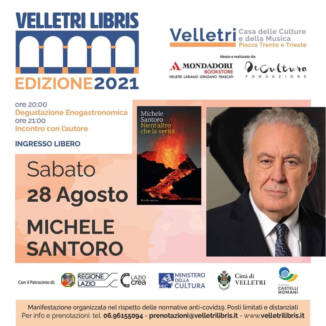 """""""Velletri Libris"""", Michele Santoro presenterà sabato 28 """"Nient'altro che la verità"""""""