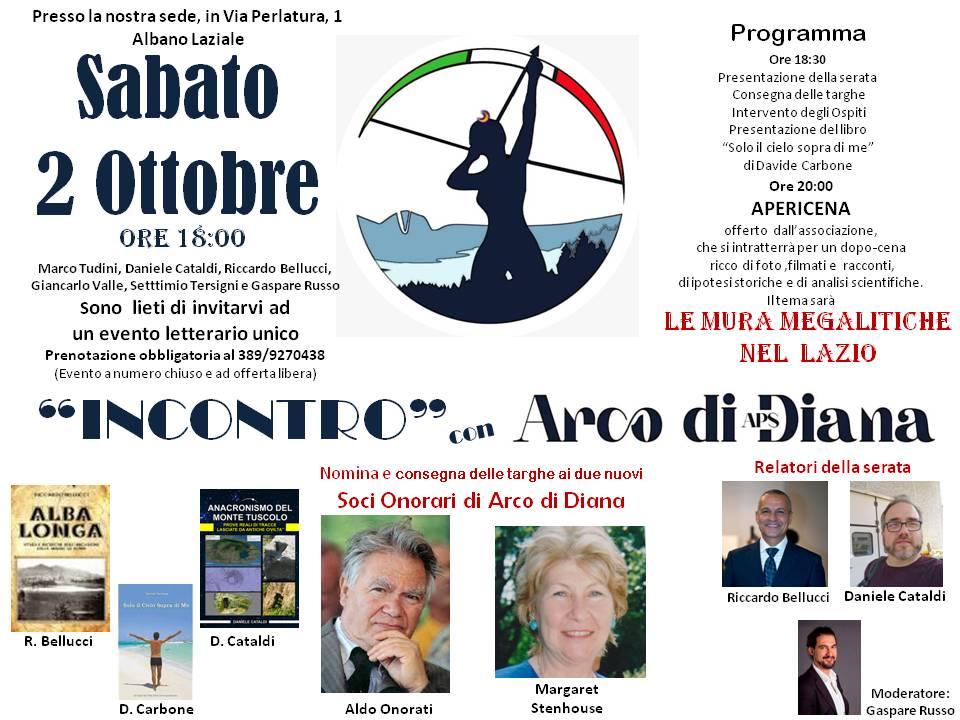 """Albano Laziale, Sabato 2 Ottobre """"Incontro"""" con Arco di Diana APS"""