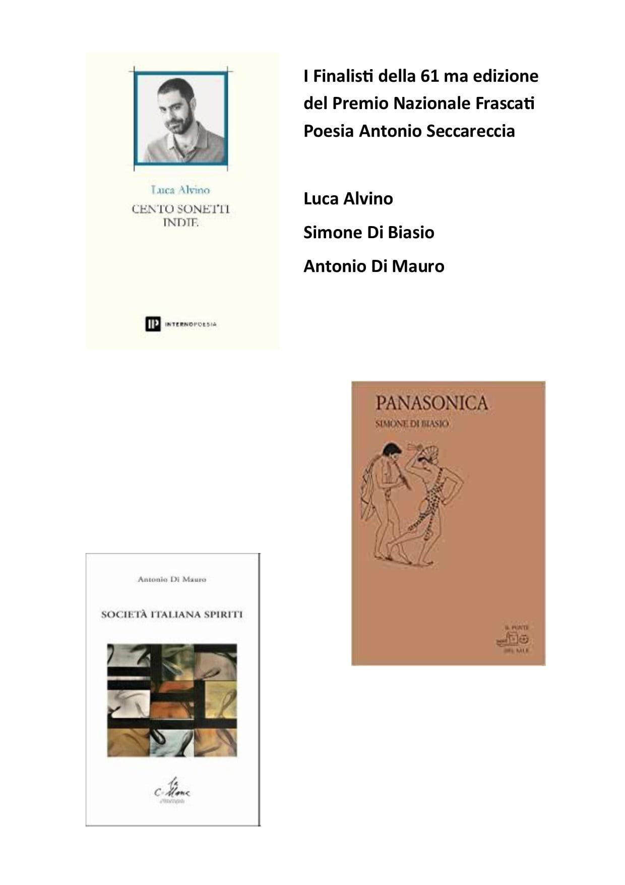"""Frascati, annunciati i finalisti del """"Premio Nazionale Frascati Poesia Antonio Seccareccia 2021"""""""