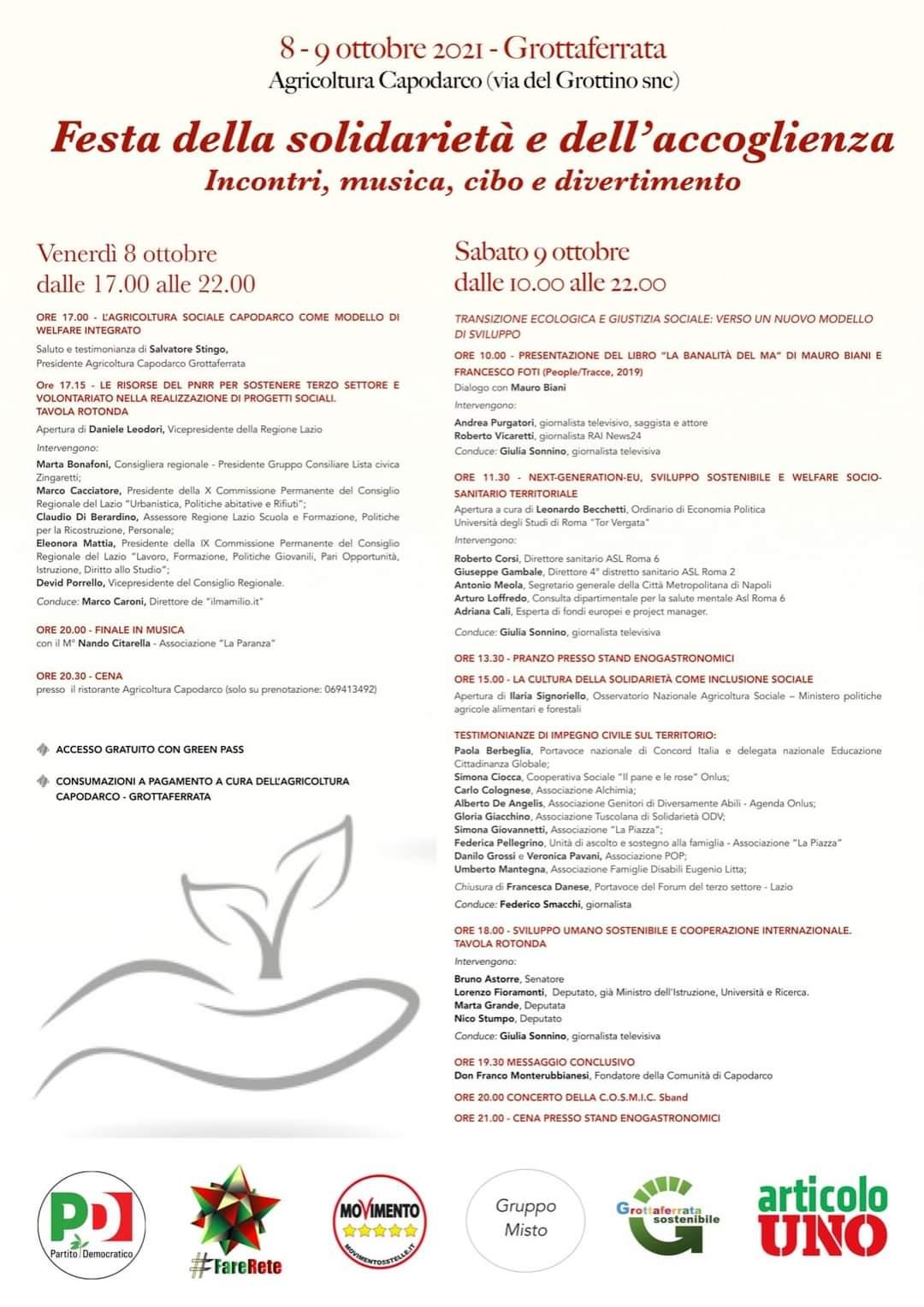 Grottaferrata, 8 e 9 ottobre Festa della solidarietà e dell'accoglienza