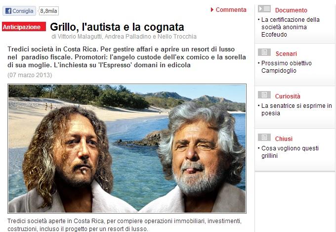 """Beppe Grillo e le società """"di famiglia"""" in Costa Rica de l'Espresso"""