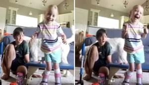 «Περπατάω! Ναι!» Η υπέροχη στιγμή που 4χρονη με εγκεφαλική παράλυση κάνει τα πρώτα της βήματα