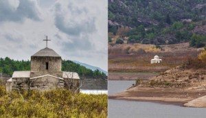 Read more about the article «Αναδύθηκε» βυθισμένο εκκλησάκι της Παναγίας μέσα από το νερό στη Ρόδο