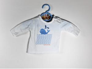 shirtje wit met blauw walvisje maatje 50 gks