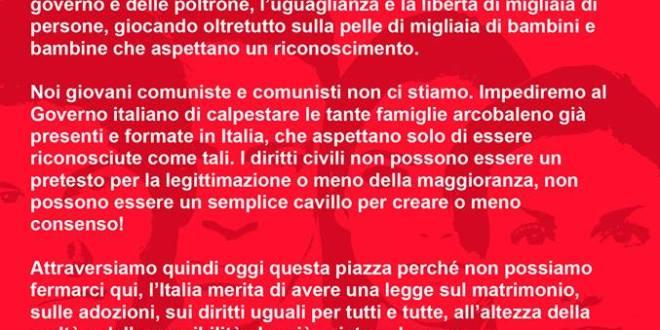 """Giovani Comunisti/e: """"Non un diritto in meno: I/Le Giovani Comunisti/e in piazza il 5 marzo a Roma"""""""