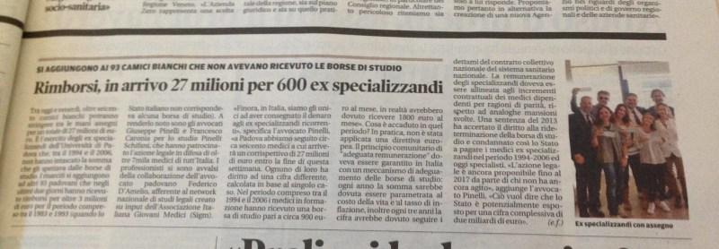rimborsi medici specializzandi caronia pinelli
