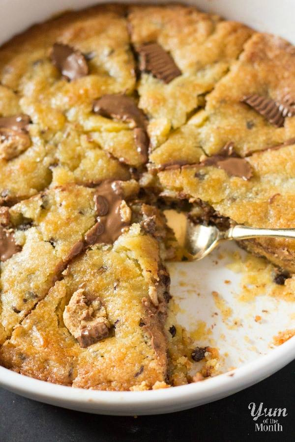 Giant Chocolate Chip Cookie Stuffed with Peanut Butter Cups by I Knead to Eat