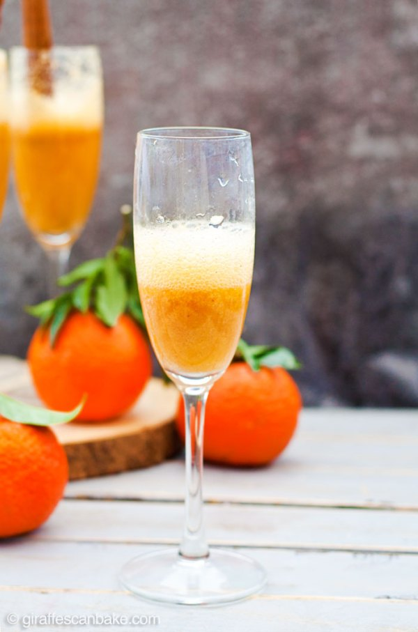 Spiced Clementine Bellini - Three amazing holiday cocktails that are totally delicious, really festive and are quick and easy to make in your Vitamix! Fresh clementine puree blended with cinnamon and nutmeg, topped up with prosecco