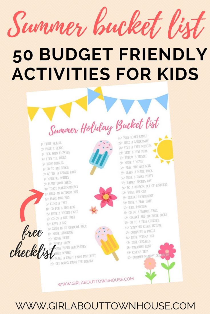 Free printable summer bucket list for kids! Don't panic about finding things to do with the children this summer . From outdoor activities, crafts and ideas for rainy days at home - this is the ultimate list of ways to keep boys and girls happy all summer long.