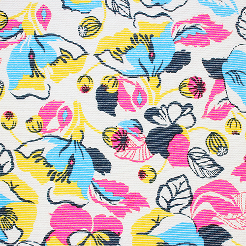 Pin Stripe Bright Floral French Terry Knit Fabric