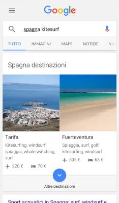 Google Destinations: ricerca per interessi