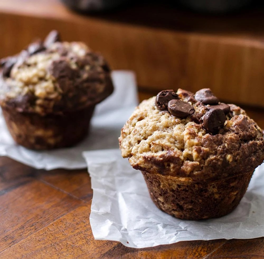 Peanut Butter and Chocolate Muffins | girlgonegourmet.com