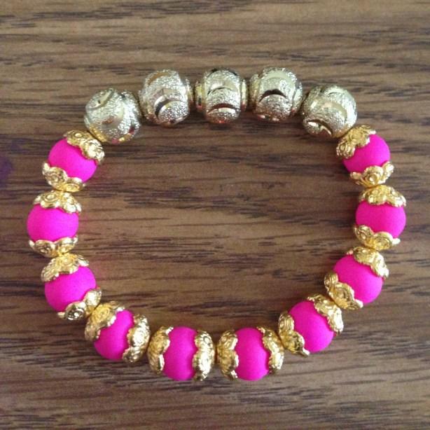 DIY Pink and Gold Bracelet
