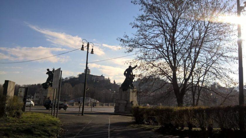View of Vittorio Emmanuele I Bridge from Parcheggio Vittorio Park