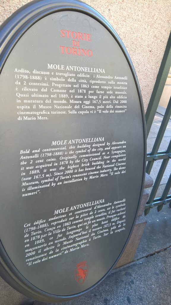 Story of the Mole Antonelliana - at the entrance