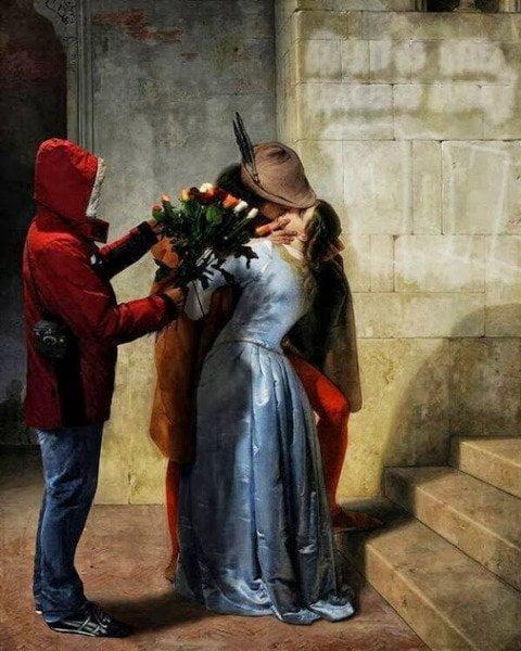 Venditore di rose e il bacio