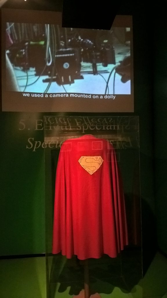 A sample of SuperMan's Cape at the Cinema Museum
