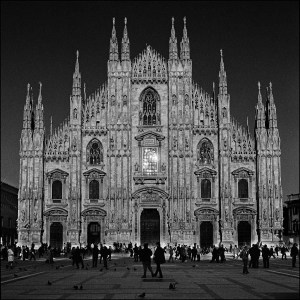 Duomo Milan black and white