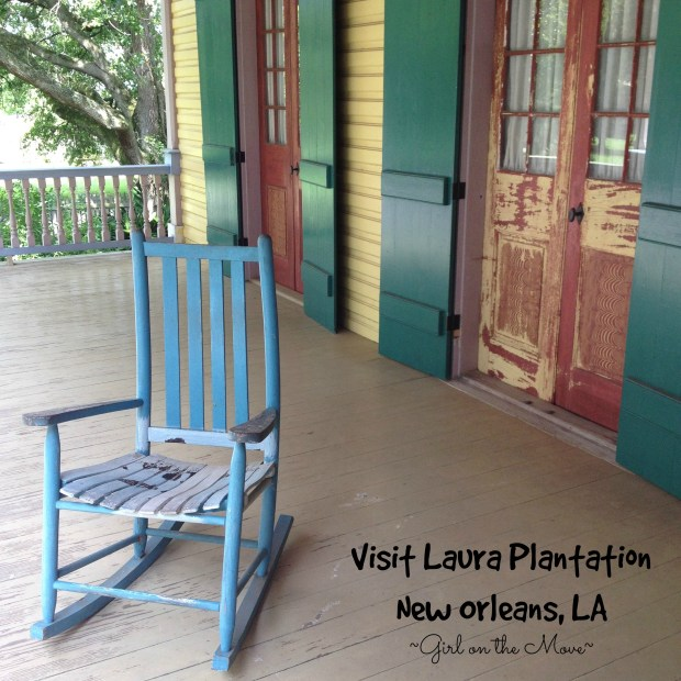 Laura Plantation front porch overlooking Mississippi River